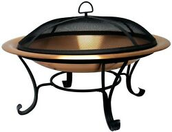 35 inch Round Copper Outdoor Backyard Patio Deck Wood Burning Fire Pit Fireplace