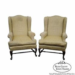 Custom Pair of 18th Century Style Queen Anne Wing Chairs