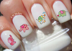 Cute Baby Elephant A1075 Nail Art Stickers Transfers Decals Set of 24 $4.99
