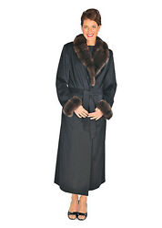 Womens Full Length Cashmere Coat with Sable Fur Collar & Cuffs - Black Cashmere