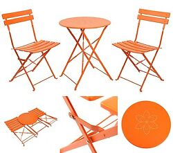 Folding Table Chair Set Outdoors Camping 3 Piece Steel Garden Lawn Patio Yard
