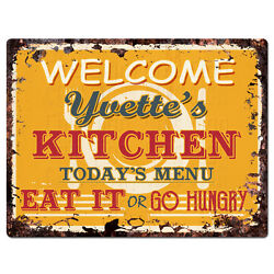 PPKM0348 YVETTE#x27;S KITCHEN Rustic Chic Sign Funny Kitchen Decor Birthday Gift $19.95