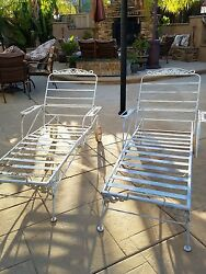 PAIR of Vintage Chaise Lounge Wrought Iron Outdoor Patio Chair