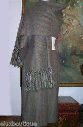 CELINE Skirt SUIT Fringed SHAWL Wool Scarf Outfit Black Gray Green Brown Tan 42