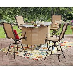 5-Piece Outdoor Patio U-Shape Table 4 Counter Height Swivel Chairs Bar Set Tan