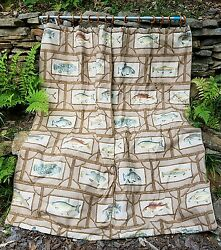 ~Gorgeous Pair of High End Rustic Custom Made Fish Cabin Designer Panels Drapes~
