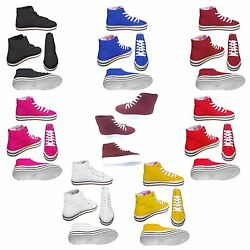 Mens Womens Unisex Canvas Hi High Top Lace Up Sneakers Trainers Shoes UK 3-8