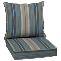 allen + roth Blue Glenlee Stripe Cushion Replacement Deep for Seat Patio Chair