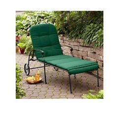 Adjustable Chaise Lounge With Wheels Outdoor Patio Metal Chair Cushion Green