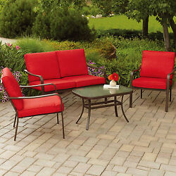 Patio 4 Piece Dining Coffee Seating Set Table Loveseat Chair Cushioned Outdoor