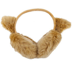 Lux Accessories Tan Trendy Winter Cold Weather Fuzzy Furry Cat Ear Muffs