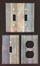 Barnwood Blue Planks Light Switch Cover Plates Outlets Rustic Wood Country  $6.99