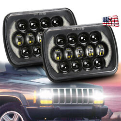 Brightest 2pc 5x7 7x6 Led Headlights Halo DRL for Jeep Wrangler YJ Cherokee XJ $67.29