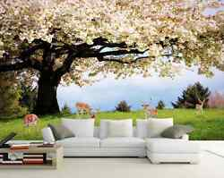3D Blooming tree white flower Wall Paper Wall Print Decal Wall Deco AJ WALLPAPER