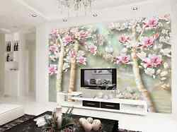 3D White tree red flowers 74 Wall Paper Wall Print Decal Wall Deco AJ WALLPAPER