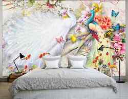 3D Butterfly peacock fish 2 Wall Paper Wall Print Decal Wall Deco AJ WALLPAPER