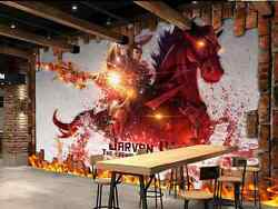 3D Red Flappy Knight Horse Wall Paper Wall Print Decal Wall Deco AJ WALLPAPER