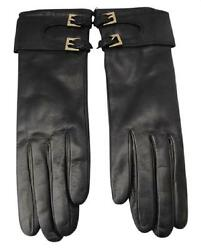 Portolano Long Black Leather Gloves Size 7 & 7.5 Cashmere Lined Made in Italy