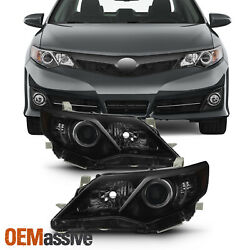 Fits 2012 2013 2014 Toyota Camry Black Smoked Projector Headlights Pair Lamps $148.99