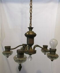 Vintage Chandelier Hanging Light Fixture 5 Lamp Spider Brass amp; Glass LQQK $95.00