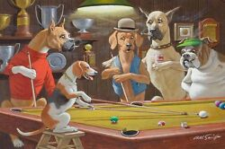 Home Art Wall Dogs Playing Pool Game Oil Painting Picture Printed On Canvas III $12.77