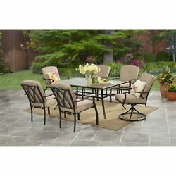 Mainstays Belden Park 7-Piece Patio Dining Set Table and Chairs 2 Swivel Tan
