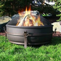 Large Steel Cauldron patio Fire Pit with Spark Screen