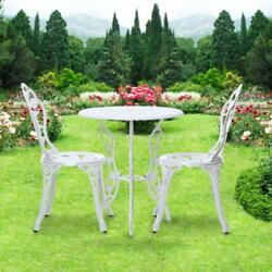 iKayaa 3pcs Porch Balcony Bistro Table Chairs Set Outdoor Garden Furniture D4F5