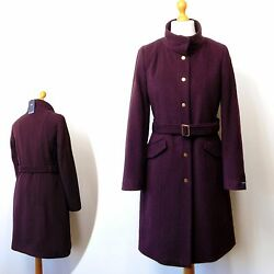 M&S Italian WOOL & CASHMERE Tailored WINTER COAT ~ 14 or 18 ~ BORDEAUX rrp £120