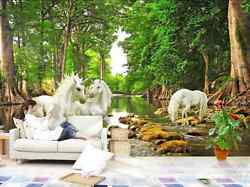 3D Forest unique white horse  Wall Paper Wall Print Decal Wall Deco AJ WALLPAPER