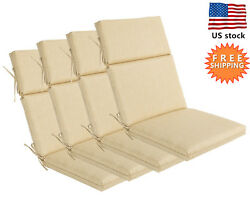 Bossima Outdoor Seat Pad Cushions Patio High Back Dining Chair Cream Set of 4