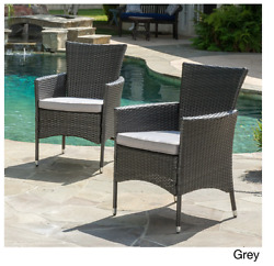 Wicker Dining Lounge Chair With Cushion Small Grey Patio Set Outdoor Large Pads