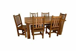 Rustic Reclaimed Barn Wood 6 Foot Farm Table with 6 Chairs - Amish Made