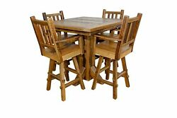 Rustic Reclaimed Barn Wood Pub Table with 4 Swivel Stools - Amish Made in USA