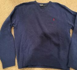Ralph Lauren Lamb's Wool sweater L - Excellent used condition - Blue - V-Neck