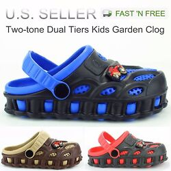 Garden Clogs Shoes For Boys Kids Toddler Slip On Casual Two tone Slipper Sandals $12.99