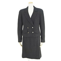 CHANEL COCO Double Set Up Suit Jacket & Skirt Wool Black Size 40 L womens Used A