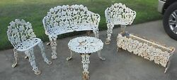 Victorian Antique Ornate Cast Iron Furniture Garden Bench  Grapes Vines vtg