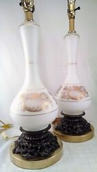 Vintage Pair Table Lamps Blown White Satin Glass Gold Design Made in France $118.00