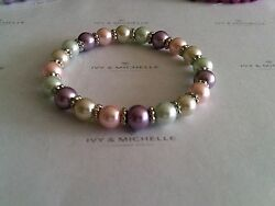 Multi-Color Glass Pearl Bracelet With Daisy Shape Beads