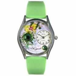 Whimsical Watches Women's S0910008 Imitation Birthstone: August Light Green Leat