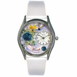 Whimsical Watches Women's S0910003 Imitation Birthstone: March White Leather Wat