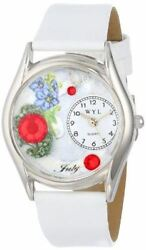 Whimsical Watches Women's S0910007 Imitation Birthstone: July White Leather Watc