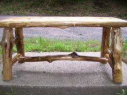 Rustic log Benchtable*reclaimed wood furniture Country cabin home decor
