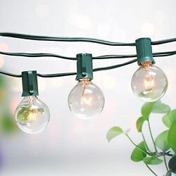 10PCS 100 Foot G50 Outdoor Patio Party Globe String Lights-125 Clear Bulb Set