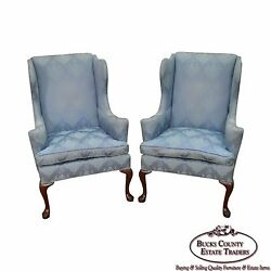 Hickory Chair Solid Mahogany Pair of Queen Anne Wing Chairs