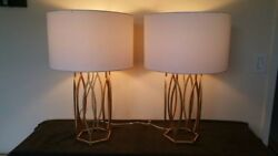 Pair of geometric rustic modern iron table lamps with drum shades $300.00