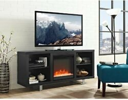 Walker Edison Furniture Company Wood Media TV Stand Console with Fireplace Black