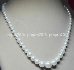 Really Natural 6-14MM White South Sea Shell Pearl Round Beads Necklaces PN918