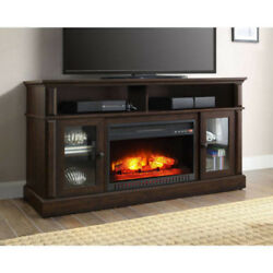 ELECTRIC FIREPLACE INSERT TV STAND RUSTIC 70